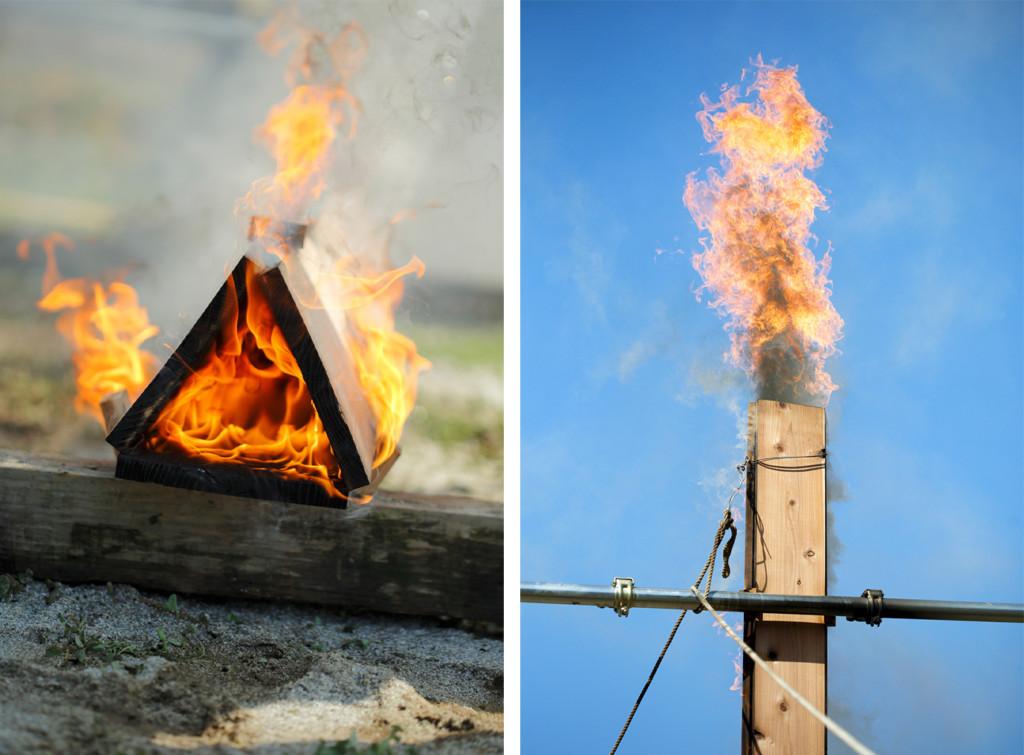 火が点いたら、杉板を垂直に。煙突から煙が出るように、炎が立ち登ります